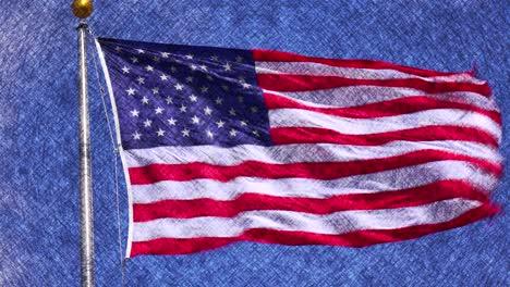 Die-Amerikanische-Flagge-Weht-In-Einer-Animierten-Grafik