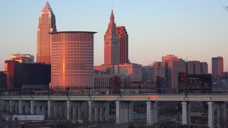 A-rapid-transit-train-moves-in-front-of-the-city-of-Cleveland-Ohio