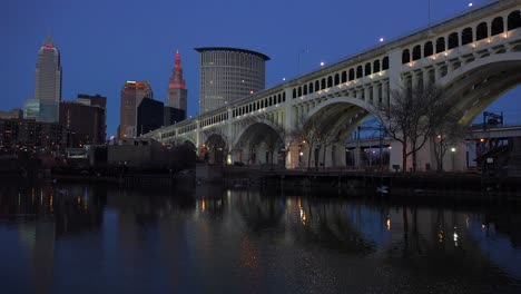 Evening-shot-of-Cleveland-Ohio-with-bridge-foreground-1
