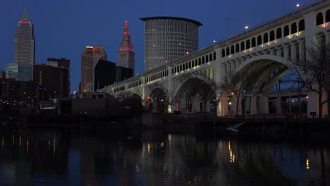 Night-shot-of-Cleveland-Ohio-with-bridge-foreground
