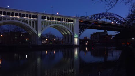 Night-shot-of-Cleveland-Ohio-bridge-foreground