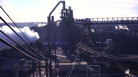 Establishing-shot-of-a-busy-steel-mill