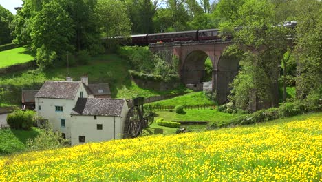 A-steam-train-passes-over-a-stone-bridge-in-the-english-countryside-with-a-field-of-wildflowers-foreground
