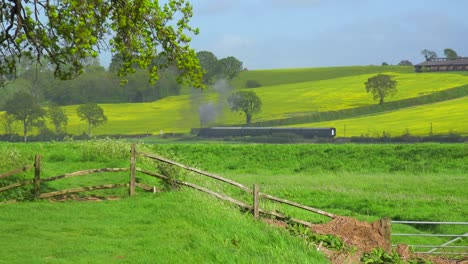 A-distant-steam-train-moves-across-the-countryside