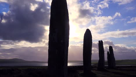 Time-lapse-shot-of-clouds-moving-over-sacred-Celtic-stones-on-the-Islands-of-Orkney-in-Northern-Scotland