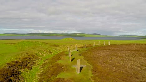 An-aerial-shot-over-sacred-Celtic-stones-on-the-Islands-of-Orkney-in-Northern-Scotland
