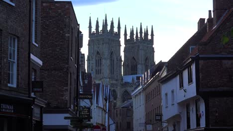 An-establishing-shot-of-the-town-of-York-England-with-abbey-cathedral-background