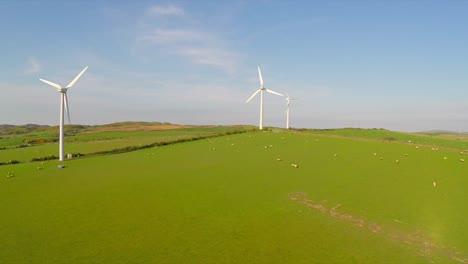 An-aerial-shot-over-a-wind-farm-in-Britain