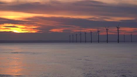 A-wind-farm-generates-electricity-along-a-coastline-at-sunset