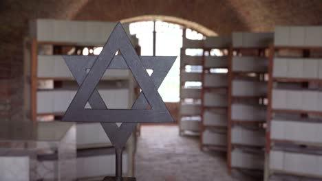 Ein-Jüdischer-Davidstern-In-Der-Nähe-Von-Ascheurnen-Im-Krematorium-Des-Nazi-Konzentrationslagers-Theresienstadt-In-Tschechien