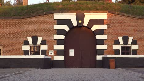 Striped-entrance-gates-at-the-Terezin-Nazi-concentration-camp-in-Czech-Republic
