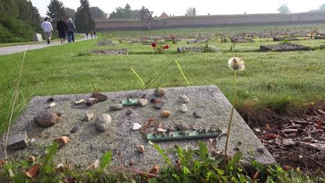 Steine-Auf-Den-Gräbern-Eines-Jüdischen-Friedhofsdenkmals-Im-NS-Konzentrationslager-Theresienstadt-In-Tschechien