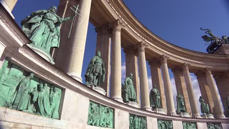 Establishing-shot-of-statues-in-Heroes-Square-in-Budapest-Hungary
