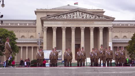 Hungarian-troops-stand-at-attention-in-Heroes-Square-Budapest-Hungary