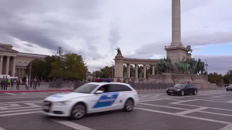 A-Presidential-motorcade-drives-through-Heros-Square-in-Budapest-Hungary