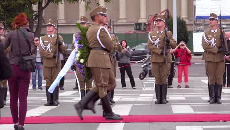Hungarian-troops-stand-at-attention-in-Heroes-Square-to-welcome-an-Ambassador-visit-Budapest-Hungary