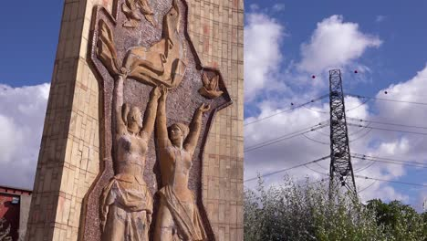 Old-Soviet-era-statues-stand-rusting-in-Memento-Park-outside-Budapest-Hungary