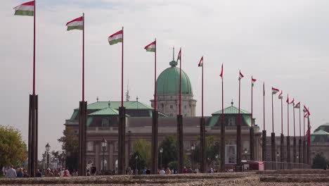 Hungarian-flags-fly-near-Buda-Castle-and-palace-in-Budapest-Hungary