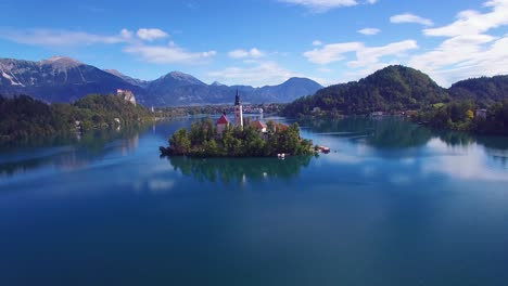 Gorgeous-aerial-shot-flying-over-Lake-Bled-and-castle-Slovenia