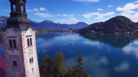 Gorgeous-aerial-shot-flying-over-Lake-Bled-and-island-castle-Slovenia