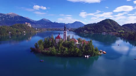 Gorgeous-aerial-shot-flying-over-Lake-Bled-and-island-castle-Slovenia-2