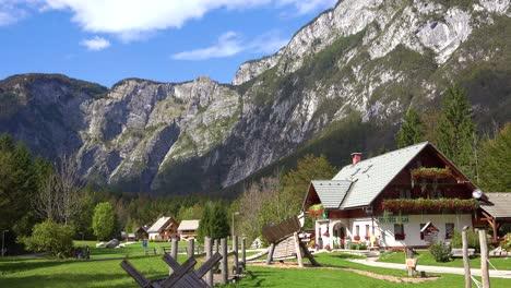 Establish-shot-of-houses-and-chalets-in-the-Julian-Alps-near-Lake-Bohinj-Slovenia