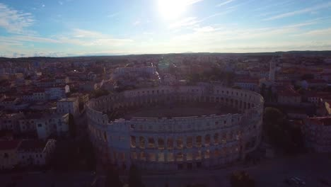 Stunning-aerial-view-of-the-remarkable-Roman-amphitheater-in-Pula-Croatia