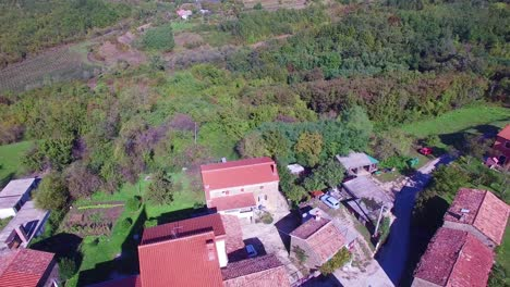Gorgeous-aerial-of-a-small-Croatian-or-Italian-hill-town-or-village-2