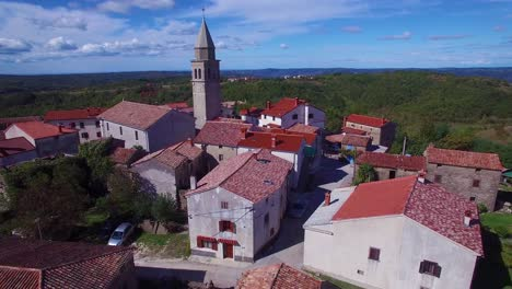Gorgeous-aerial-of-a-small-Croatian-or-Italian-hill-town-or-village-4