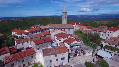 Gorgeous-aerial-of-a-small-Croatian-or-Italian-hill-town-or-village-6