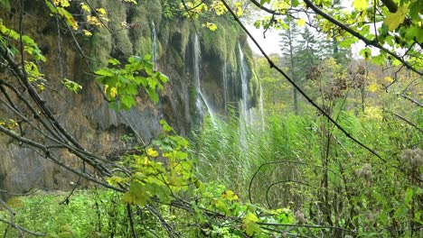 View-through-vegetation-to-beautiful-waterfall-at-Plitvice-National-Park-in-Croatia