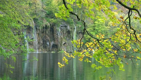 View-through-trees-to-waterfalls-at-Plitvice-National-Park-in-Croatia