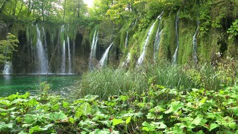 Beautiful-waterfalls-flow-through-lush-green-jungle-at-Plitvice-National-Park-in-Croatia