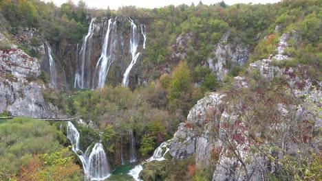 Beautiful-waterfalls-flow-through-lush-green-jungle-at-Plitvice-National-Park-in-Croatia-6