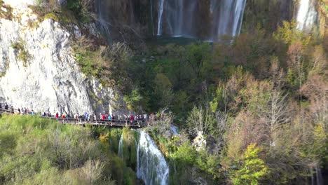 Beautiful-waterfalls-flow-through-lush-green-jungle-at-Plitvice-National-Park-in-Croatia-8