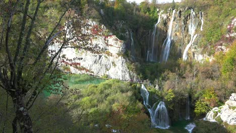 Beautiful-waterfalls-flow-through-lush-green-jungle-at-Plitvice-National-Park-in-Croatia-9
