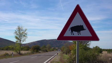 A-road-sign-warns-of-wild-boars-along-the-highway-in-Croatia
