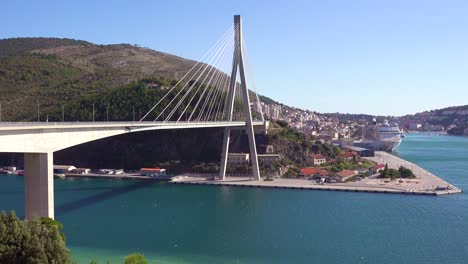 A-large-suspension-bridge-over-a-harbor-near-Dubrovnik-Croatia