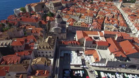 Aerial-tilt-up-view-over-the-old-city-of-Dubrovnik-Croatia-2