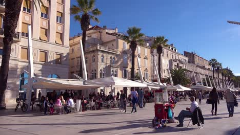 Daytime-establishing-shot-of-ther-waterfront-promenade-in-Split-Croatia