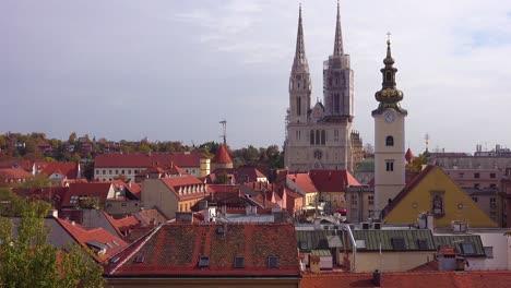 Establishing-shot-of-the-skyline-of-Zagreb-Croatia