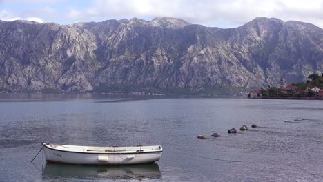 A-rowboat-on-the-shores-of-Boka-Bay-Montenegro