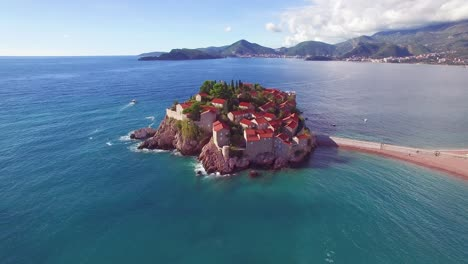 Remarkable-aerial-shot-over-the-beautiful-Sveti-Stefan-island-in-Montenegro-2