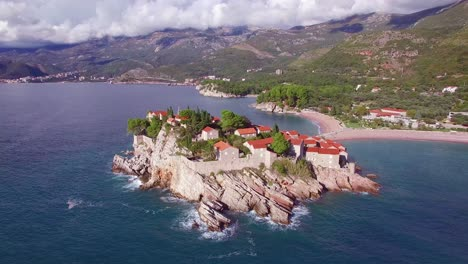 Remarkable-aerial-shot-over-the-beautiful-Sveti-Stefan-island-in-Montenegro-3