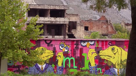 Ruined-buildings-have-art-from-the-war-in-downtown-Mostar-Bosnia-Herzegovina-3