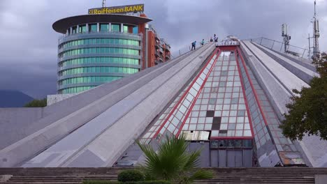An-abandoned-pyramid-is-a-vestige-of-a-Communist-era-in-downtown-Tirana-Albania