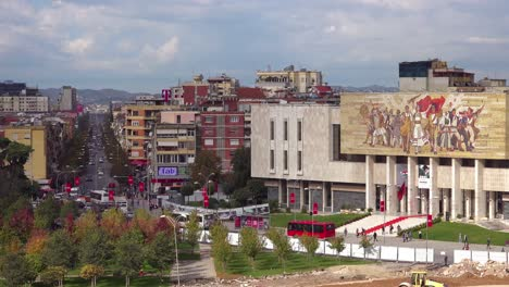 A-view-of-downtown-Tirana-Albania-includes-the-museum-and-revolutionary-Communist-mural