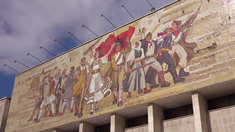 Revolutionary-mural-depicts-peoples-revolution-and-Communist-values-in-Tirana-Albania
