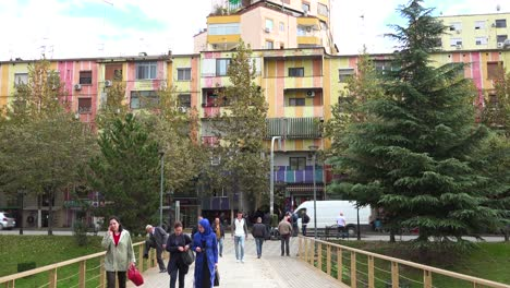 Old-but-colorful-apartment-building-in-Tirana-Albania