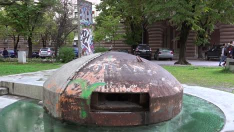 Concrete-pillbox-bunkers-are-found-in-downtown-Tirana-Albania